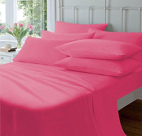 Pride Beddings - Juego de sábanas de 6 piezas, 100% algodón egipcio de 600 hilos, 6 piezas, juego de sábanas de lujo de tamaño doble, se adapta a colchones de 20 pulgadas de profundidad, color rosa