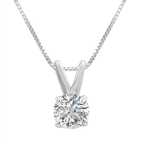 AGS Certified 3/8ct Round Diamond Solitaire Pendant Necklace in 14K White Gold