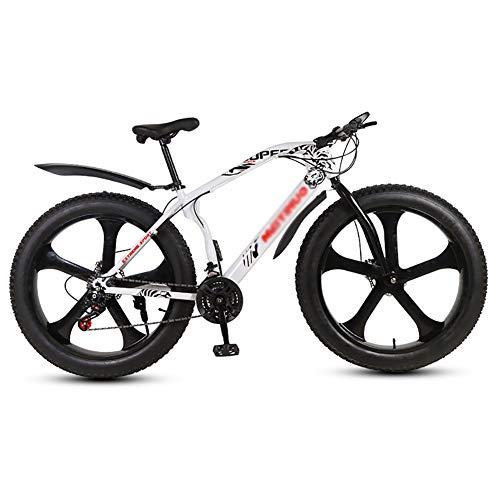 TOPYL Dual Suspension Frame and Suspension Fork All Terrain Snow Bicycle,26 Inch Fat Tire Hardtail Mountain Bike,Men's Mountain Bikes White 5 Spoke 26',21-Speed
