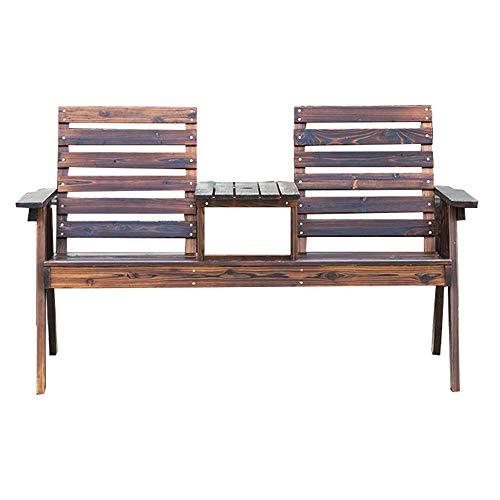 HJUYV-ERT Mesas y sillas de Patio de Madera Maciza para Exteriores, sillones de Madera con Respaldo Doble de Madera anticorrosiva con mesas, Bancos de balcón, adecuados para Balcones de Patio Trasero