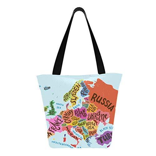 Póster de tipografía decorativa con mapa de Europa, 11 × 7 × 13 pulgadas, lavable a máquina, resistente, de poliéster, para comestibles, plegable, reutilizable, para ir de compras