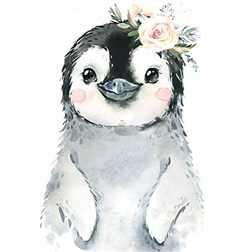 DIY 5D Diamond Painting by Number Kits,Full Round Drill Diamond Embroidery Kit Home Wall Decor Good Penguin 11.8x15.7 in by Megei