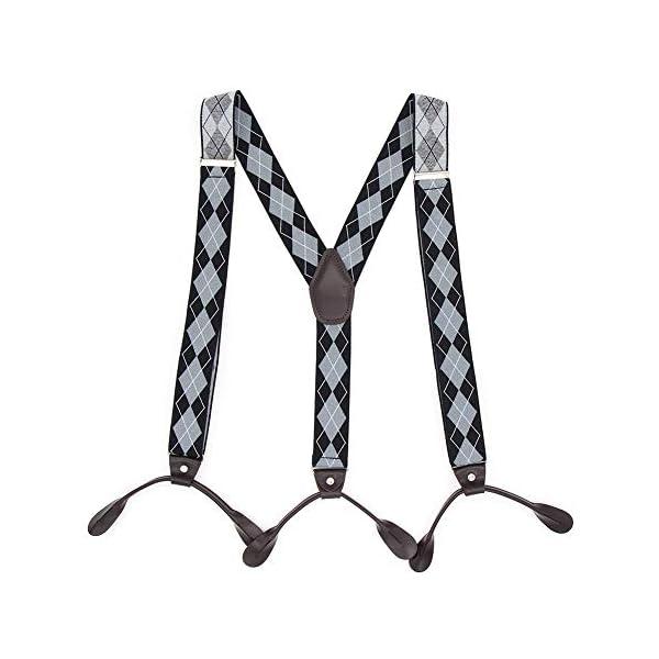 Suspenders for Men Button End Adjustable Mens Pant Suspenders Y Back Elastic Tuxedo Braces