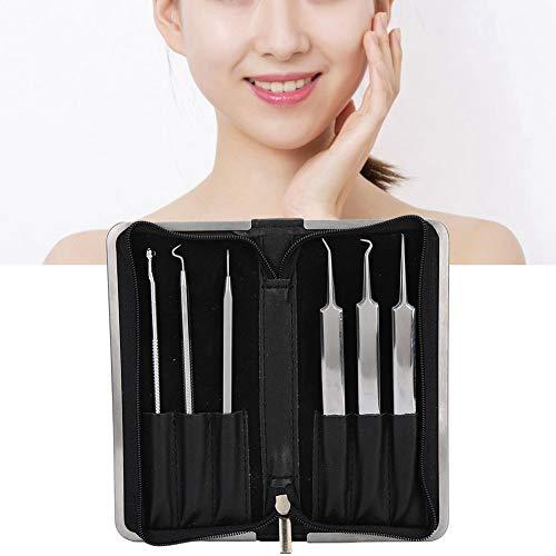 Extracteur d'acné, aiguille d'élimination de l'acné, 6 pièces en acier inoxydable, points noirs, extracteur d'agrafe