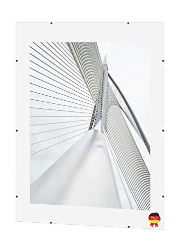 ByMoris Klippy Clip-Rahmen 75x98 cm Bildhalter Bilderrahmen Rahmenlos Glasrahmen Foto Galeria Photo Collage viele Verschiedene Größen MDF Rückwand Plexiglas