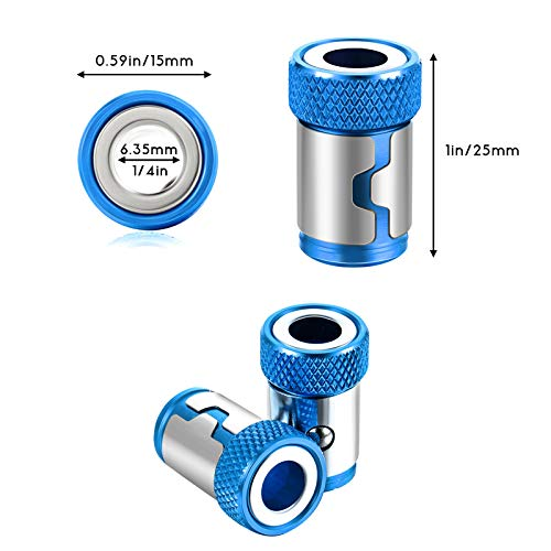 Magnetic Screw Ring Metal Bit Magnetizer Ring Screw Magnetic Holders, Applied to 1/4 Inch/ 6.35 mm Hex Screwdriver and Power Bits (12, Blue)