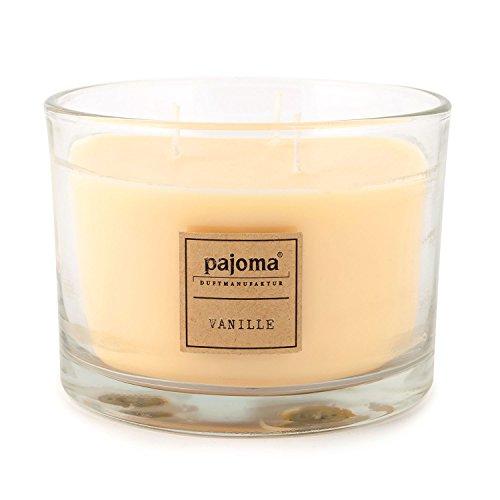 Pajoma vanille-geurkaars, 340 g, in glas met houten deksel, Premium Edition, voor ongeveer 40 uur