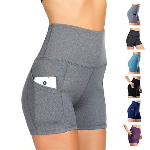 WateLves Damen Yoga Shorts Fitness Sportshorts Jogginghose kurz Trainingsshorts Running Hohe Taille Mit Taschen Elastische Tanzen Weich atmungsaktiv bequem Mädchen Workout Leggings(Hellgrau,M)