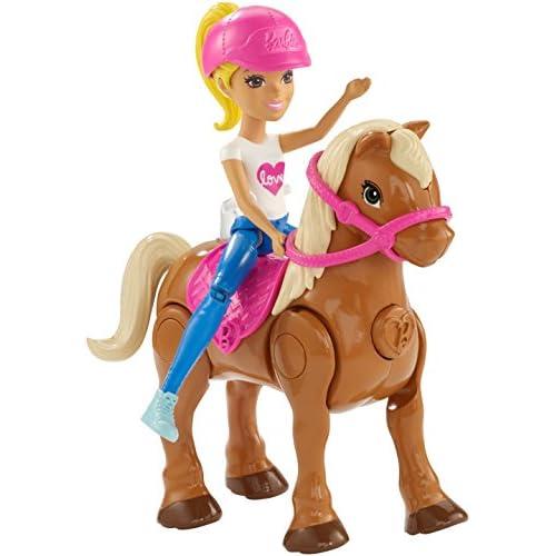 Mattel Barbie fhv63,Barbie On The Go, bambola (bionda) e mini pony, color marrone chiaro con sellino di colore rosa, Modelli/Colori Assortiti, 1 Pezzo