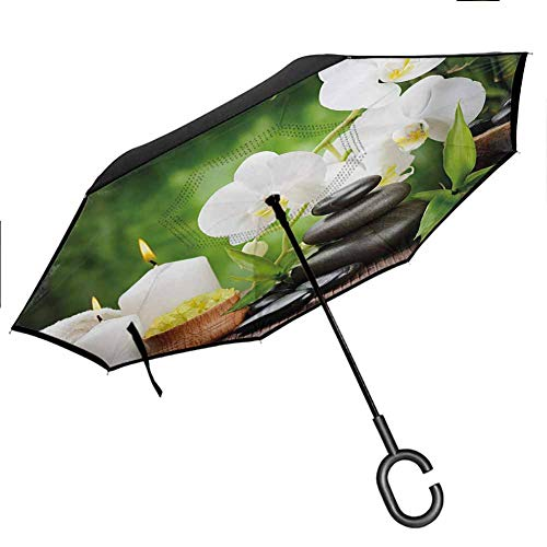 Anyangeight Spa Portable Reverse Umbrellas Zen Stones with Orchid and Candles Green Plants at The Background Print Outdoor Car Umbrella for Women & Men for UV Protection & Rain, 42.5'x31.5'Inch