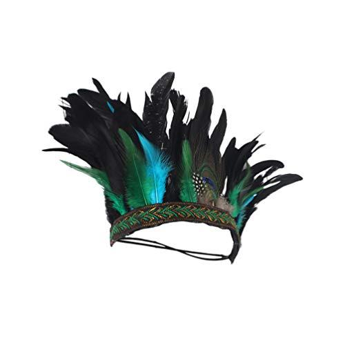 Minkissy tocado indio corona de plumas tocado accesorios para el cabello disfraces accesorios de foto para mujeres de fiesta hombres