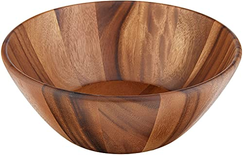 Lipper International Acacia Round Flair Serving Bowl for Fruits or Salads, Large, 12' Diameter x 4.5' Height, Single Bowl
