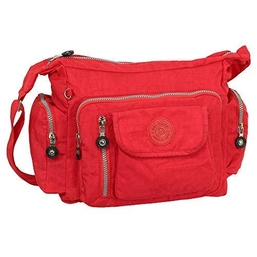 Ledershop24 Geschenkset - Leichte Damen & Herren Umhängetasche Schultertasche Sporttasche Stofftasche Farbe rot