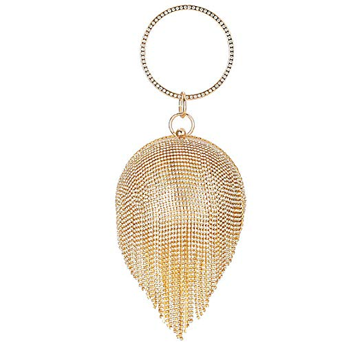 YFYBF Frauen Kleine Kugel-Form-Schaum Quaste Clutch Handtaschen-Abend-Beutel-Art Kupplungs-Geldbeutel für Partei-Hochzeit Geldbeutel Cocktail-Abschlussball,Gold