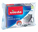 Vileda Spugna Clean & Shine Inox 3in1 Sponge, 0, Grigio, Rosa, 150 x 95 x 46