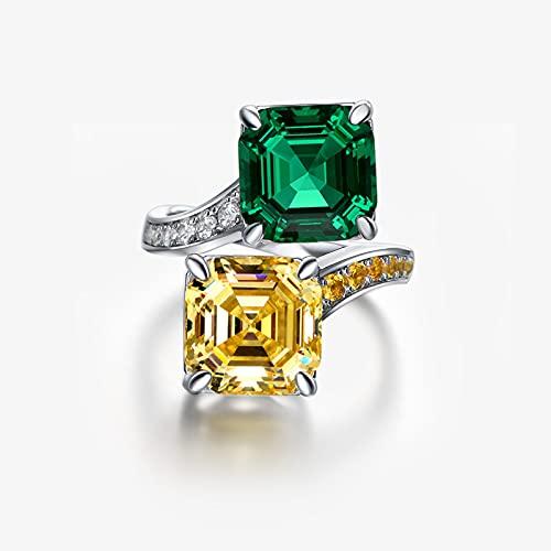 Anillo Anillo De Plata 925 Moda Clásico Diamante De Cuatro Garras Cuadrado 10 * 10 Anillo De Diamante Amarillo-Verde, Tamaño De Apertura Ajustable