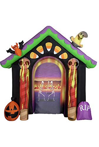 Gemmy 8.6 Feet Tall Living Projection Halloween House Archway Inflatable + LightShow Projector Set Indoor/Outdoor Holiday Decoration