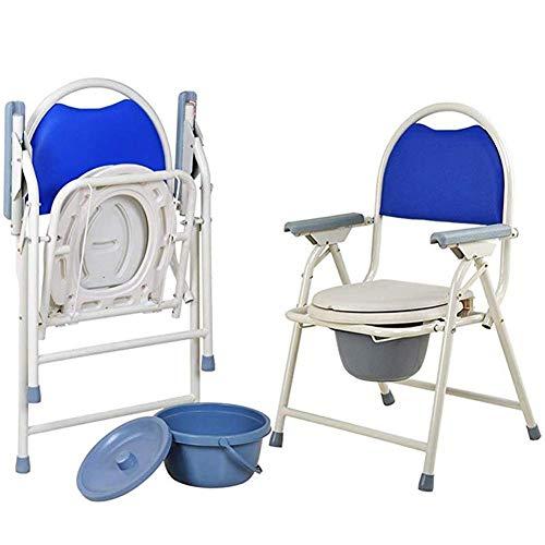 NMDD Elderly ty Chair, klappbarer Nachttisch mit Kommodeimer, Porta ty für Erwachsene - Tragbare Toilette für Camping