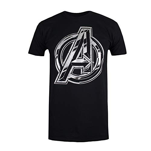 Marvel The Avengers Infinity Logo Camiseta, Negro (Black Blk), L para Hombre
