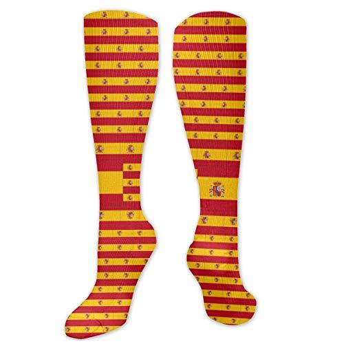 Osmykqe Calcetines con la bandera de España para hombres y mujeres Calcetines deportivos sobre la pantorrilla para correr divertidos, deportivos y deportivos