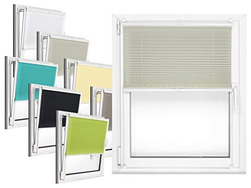 npluseins Plissee - vormontiert und mit Klemmfixierung am Fensterahmen - kinderleichte 3-Step Montage, ca. 50 x 130 cm, Silber