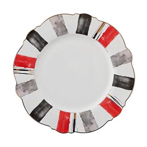 Placa Placa De Carne De Cerámica De Los Cubiertos De Los Cubiertos De La Placa De La Comida Occidental Nacional (Color : Blanco, Size : 21.5×1.5cm)