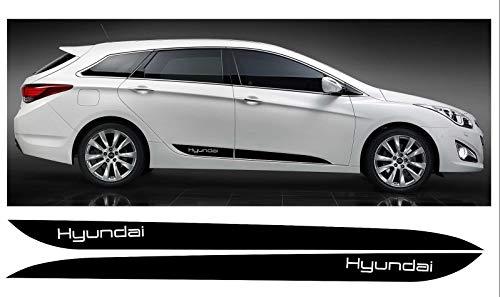 SUPERSTICKI Set Hyundai i40 Seitenstreifen Set beidseitig Racing Stripes Rallyestreifen Aufkleber Autoaufkleber Tuningaufkleber Hochleistungsfolie für alle glatten Flächen UV und Waschanlage