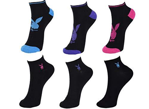 Playboy 6 Paar Damen Sneakersocken, Schwarz oder Weiß mit Glitzereffekten in Lila oder Blau oder Rot/in 35-38 und 39-42 (39/42, Schwarz)