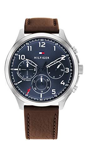 Tommy Hilfiger Herren Analog Quarz Uhr mit Leder Armband 1791855