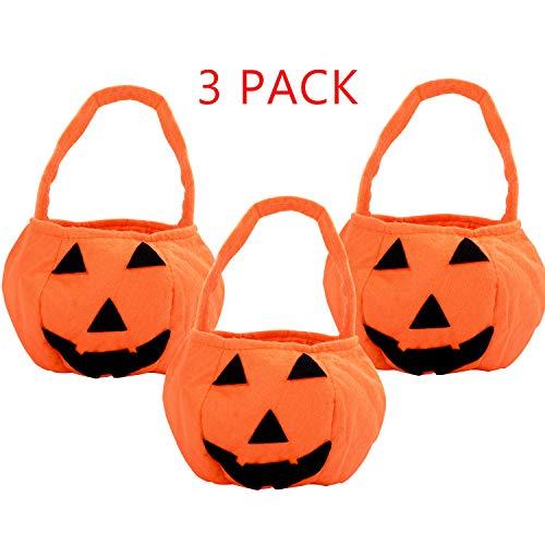 KATELUO 3 Stücke Halloween Süßigkeits Tasche,Kürbis Sammeltasche,Halloween Süßes oder Saures Bags,aus Tuch für Kinder Party,Wiederverwendbare Geschenktüten Partytüten Candy Bags