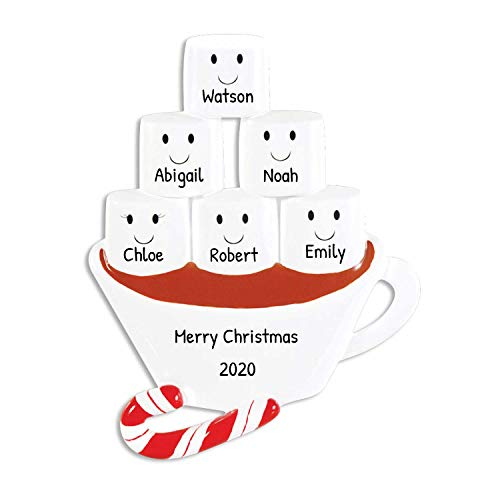 Personalized Hot Chocolate Family of 6 Christmas Ornament - Cute Marshmallow Couple in Cup with Candy Cane - Siblings Friends Tradition Winter Drink Cozy Lover 1 Kid - Free Customization (Six)