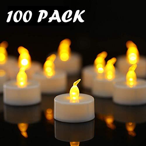 YIWER Velas de té, Velas LED, Velas parpadeantes sin Llama, Velas Artificiales realistas a Pilas con luz Amarilla cálida, Polipropileno, 100pcs