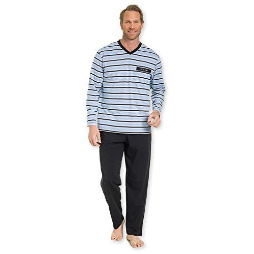Otto Kern Herren Pyjama mit Langer Hose 100% Baumwolle I Kurzarm Shirt V-Neck Gestreift I Hose mit Seitentaschen I Blau I Gr. 52 (L)