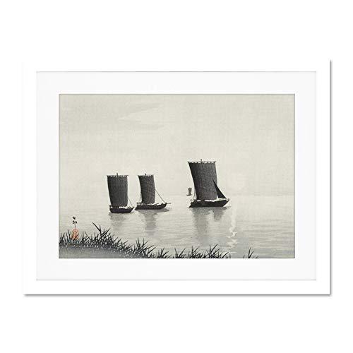 Wee Blue Coo Fishing Boats Ohara Koson Póster de Pared de Cuadros Grandes Enmarcado 18x24 Pulgadas