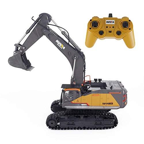 Paelf 2.4G Transmisores Recargable Toy Car Remote Control Excavator 16 Canal Excavadoras de construcción RC Funcional Completo con camión niños de 12 años Juegos y Juguetes