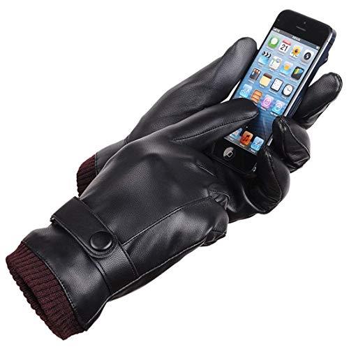 LAOWWOスマホ対応レザーグローブ 革手袋 メンズ 裏起毛 防寒 自転車 紳士用