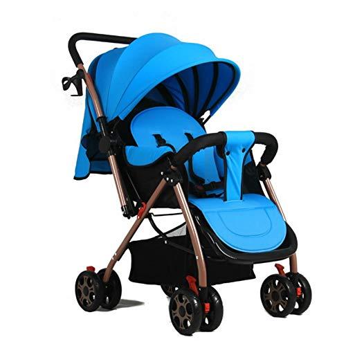 LYzpf Leichter Baby Kinderwagen Einstellbar Stilvolle Babyartikel Kombikinderwagen Babyausstattung Buggy Faltbar Babyzubehör Babyprodukte Kompakt Zubehör für 0-36 Monate,Blue