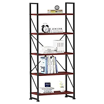 YITAHOME 5 Tiers Bookshelf Artsy Modern Bookcase Book Rack Storage Rack Shelves Books Holder Organizer for Books/Movies in Living Room/Home/Office - Cherry