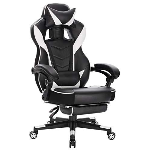 WOLTU Gaming Stuhl Racing Stuhl Bürostuhl Chefsessel Arbeitsstuhl Schreibtischstuhl Computerstuhl PC Stuhl mit Rollen Kopfkissen Lendenstützte Fußstützte aus Kunstleder Weiß BS94ws