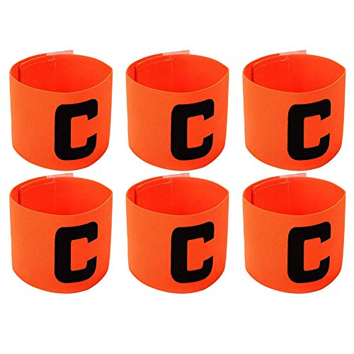 Onwon 6 Pieces Elastic Soccer Captain Armband Adjustable Football Basketball Player Bands for Adult Youth (Orange)