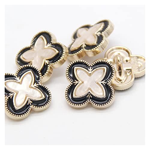 YTNGYTNG Knopen Goud metalen vrouwen jas decoratieve knoppen voor kleding Mooie trui pak naaien accessoires groothandel (Farbe: Wit Zwart, Maat: 20mm 6pcs)