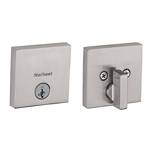 Kwikset 92580-005 258 Downtown Low Profile Slim Square Modern Contemporary Single Cylinder Deadbolt Door Lock featuring SmartKey Security in Satin Nickel