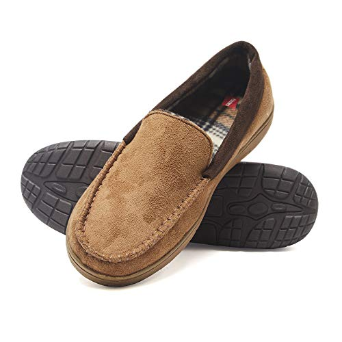 Hanes Men's Moccasin Slipper House Shoe with Indoor Outdoor Memory Foam Sole Fresh IQ Odor Protection, Tan, XL