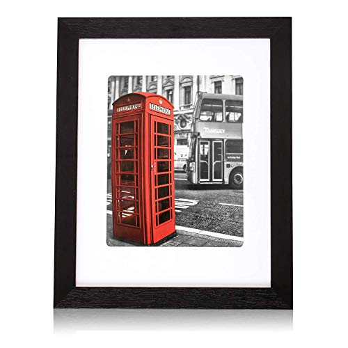 Marcos de fotos de 11 x 14 pulgadas, marco de madera negra y ventana de plexiglás inastillable con gancho de montaje, imágenes de 8 x 10 con alfombrilla o 11 x 14 sin alfombrilla para montaje en pared