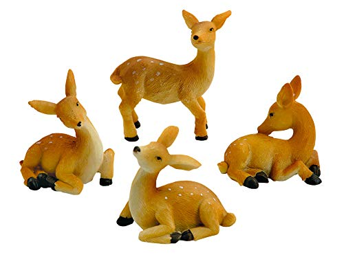 4 Rehkitz-Figur Deko Reh Kitz Miniatur 3D Bambi