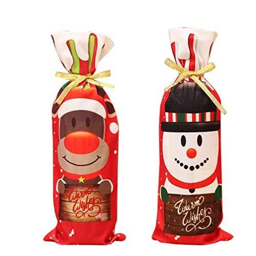 TOPBATHY 2 Stücke Weihnachten Weinflasche Abdeckung Weinbeutel Weihnachtsmann Schneemann Rentier Flaschen Beutel Flaschen Kleidung für Abendessen Bankett Tischdeko (Zufällig)