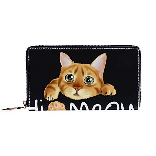 XCNGG Damen Reißverschluss um Brieftasche und Telefonkupplung, Reisetasche Leder Clutch Bag Kartenhalter Organizer Wristlets Brieftaschen, Hi Meow Slogan mit Katze hängen