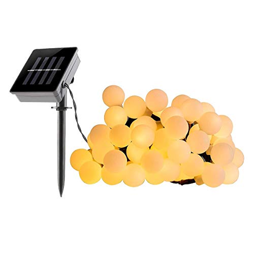 Guirlande lumineuse solaire ampoules rondes 60 LED blanc chaud BILLY 6.90m