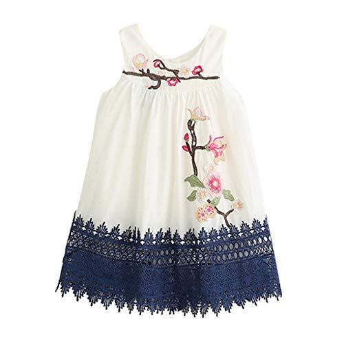 sunnymi   - Vestido para niña de 2 a 7 años, con Bordado de Flores Blanco 4-5 Años