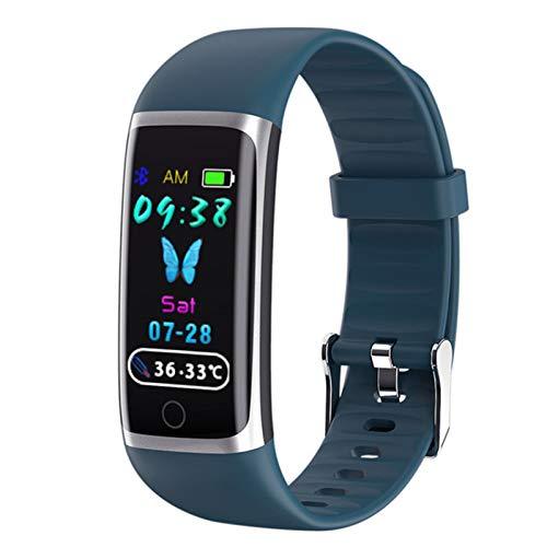 VBF Pulsera Inteligente, Pantalla 3D Color, Temperatura Corporal en Tiempo Real, Seguimiento de Fitness Smart Fitness M9 Reloj para Android iOS,B